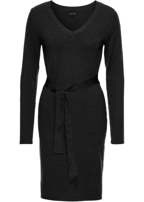 zwarte gebreide jurk