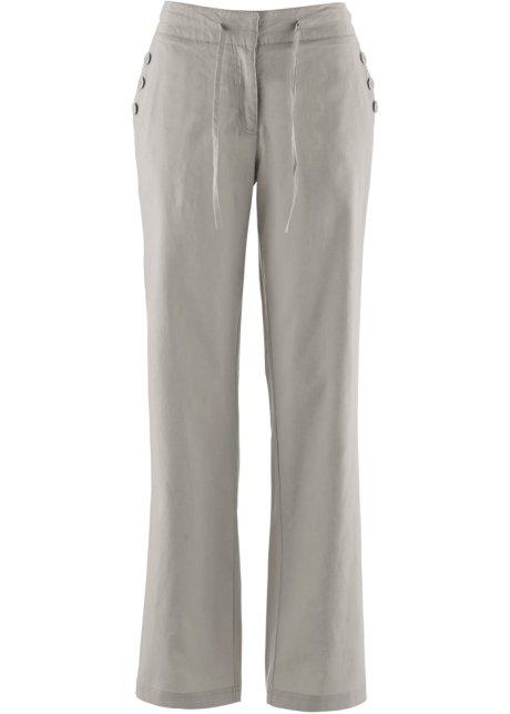broek in wijd loose-fitmodel van huidvriendelijk linnen - natuursteen