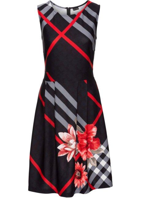 Rood Met Zwart Jurkje.Jurk Rood Zwart Grijs Gedessineerd Dames Bodyflirt Boutique