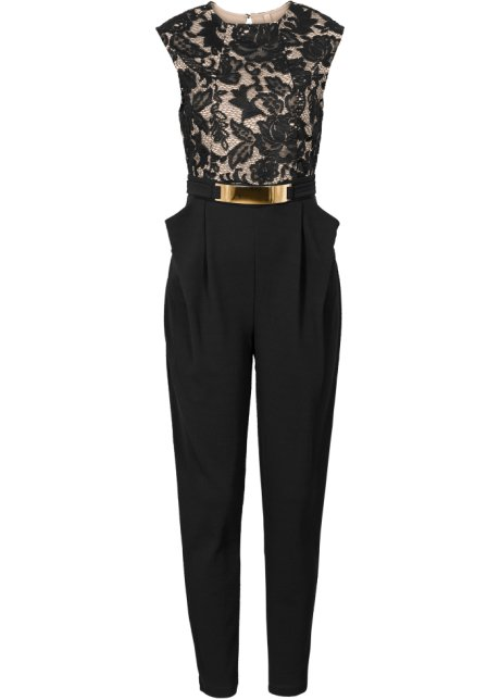 jumpsuit zwart/lichtbruin - bodyflirt boutique - bonprix.nl