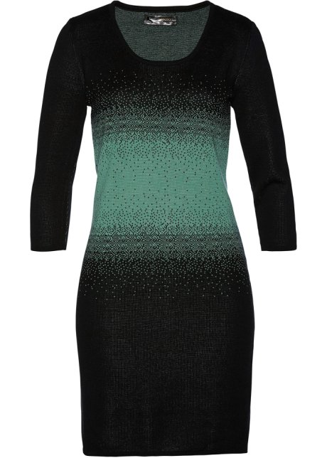 cd8c09b972900f Gebreide jurk zwart saliegroen - Dames - bpc selection - bonprix.nl