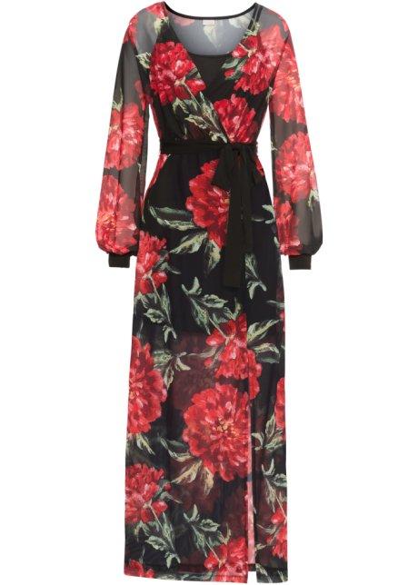 a4bdd0b3fe0f3f Maxi-jurk zwart rood gebloemd - BODYFLIRT boutique koop online ...