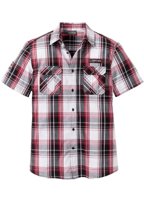 Overhemd Zwart Wit.Overhemd Zwart Wit Donkerrood Geruit Heren Bonprix Nl