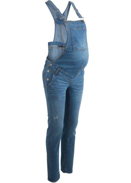 zwangerschaps tuinbroek slim fit blue bleached - dames - bpc bonprix