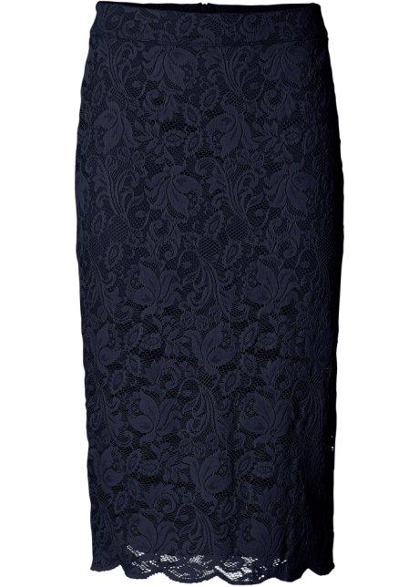 Magnifiek Aantrekkelijke rok van modieuze kant in kokermodel - donkerblauw #WD76