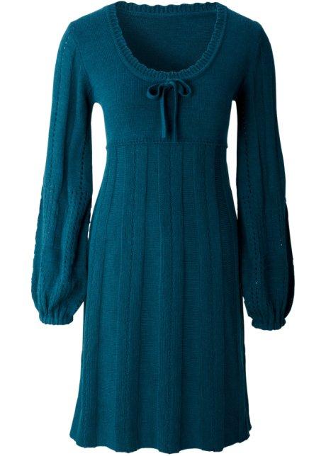 8eca69ee3003fa Gebreide jurk met ronde hals - petrol