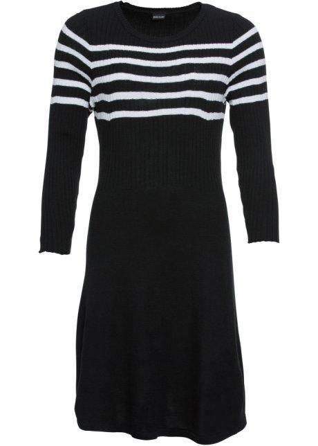 zwart wit gebreide jurk