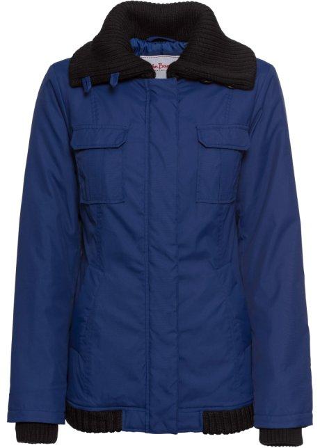 Warme Trendy Winterjas.Warm Gevoerde Winterjas Met Trendy Gebreide Details Blauw