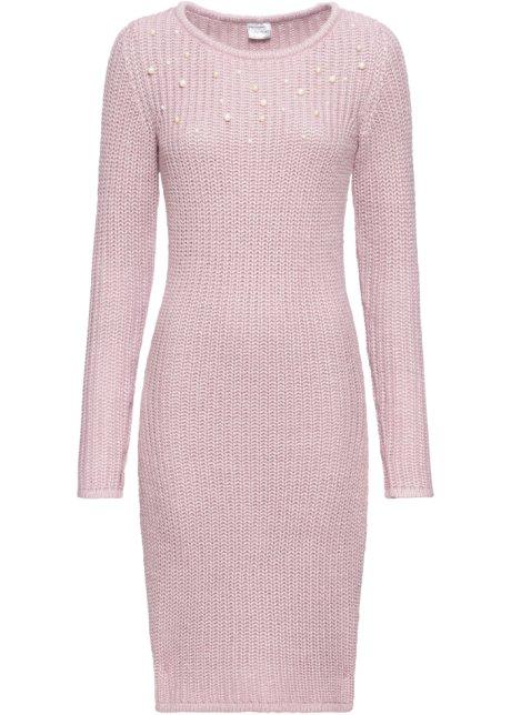 Super Gebreide jurk met parels roze - Dames - BODYFLIRT - bonprix.nl IP-56
