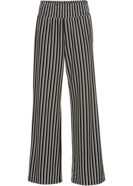 Verbazingwekkend Palazzo broek van stevige jersey zwart/wit gestreept - BODYFLIRT JQ-03