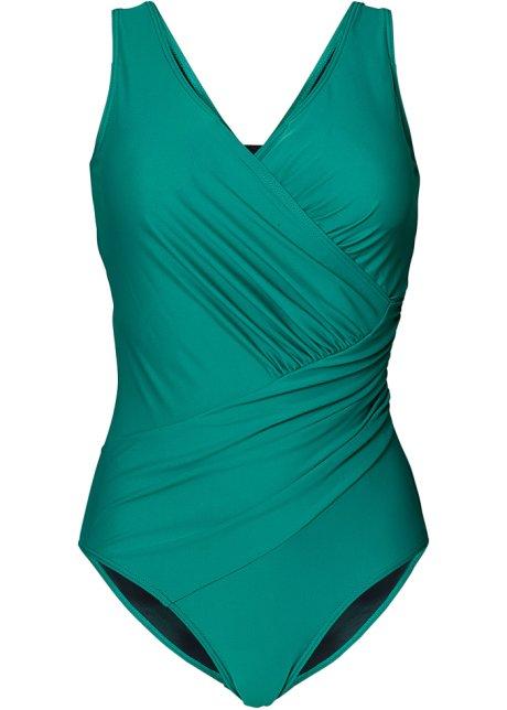 e8c20b30bc9801 Corrigerend badpak in stijlvolle wikkellook - smaragdgroen
