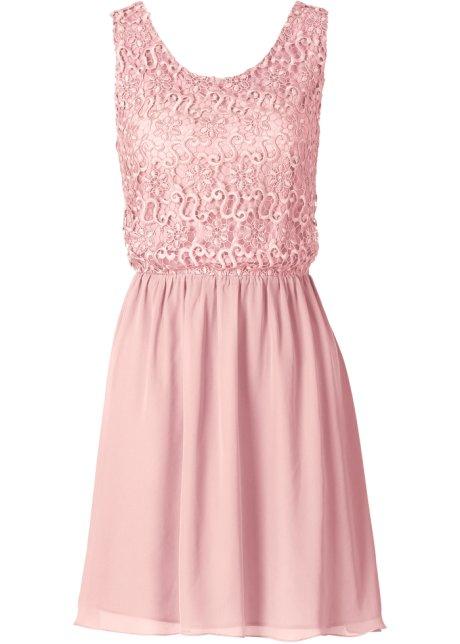 2ce3a14ddca1ba Geraffineerde jurk met mooie kant en zwierige rok - vintage roze