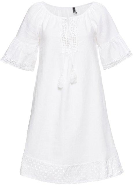 Wonderlijk Trendy jurk met wijde mouwen en gehaakte boorden - wit JS-34