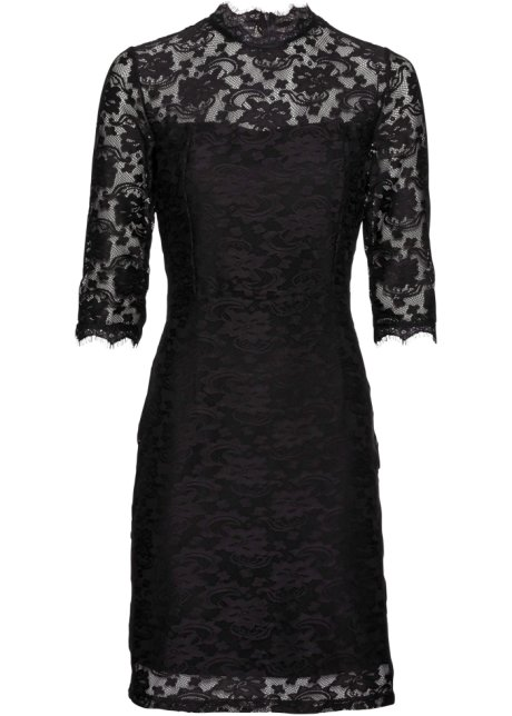 Verbazingwekkend Kanten jurk zwart - Dames - BODYFLIRT - bonprix.nl EJ-44