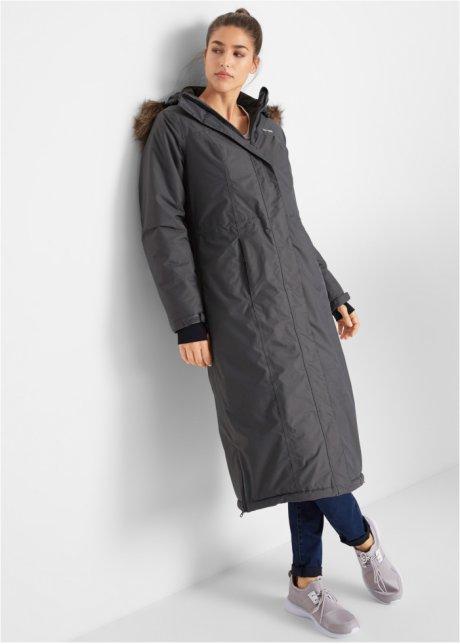 Lange outdoor jas met imitatiebont