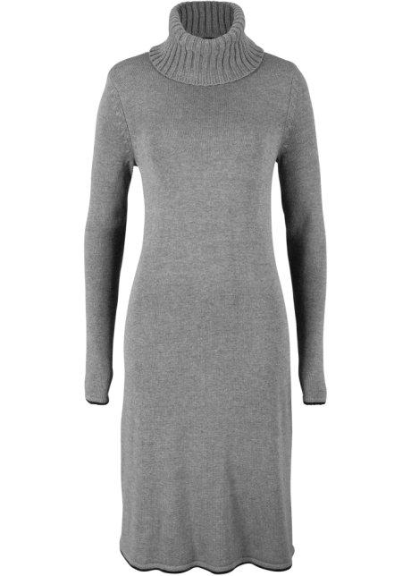 Gebreide jurk met col lichtgrijs gemêleerd bpc bonprix