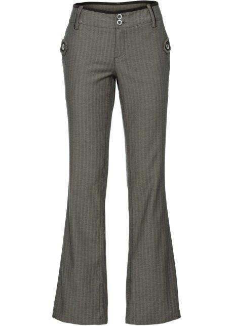 Verbazingwekkend Pantalon met krijtstrepen, bootcut kleigroen - Dames - RAINBOW JW-04