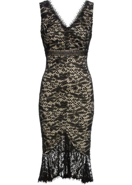 Verwonderend Kanten jurk zwart/lichtbruin - Dames - BODYFLIRT boutique - bonprix.nl KK-89