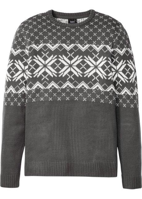 Heren trui met een ronde hals en een trendy Noors patroon