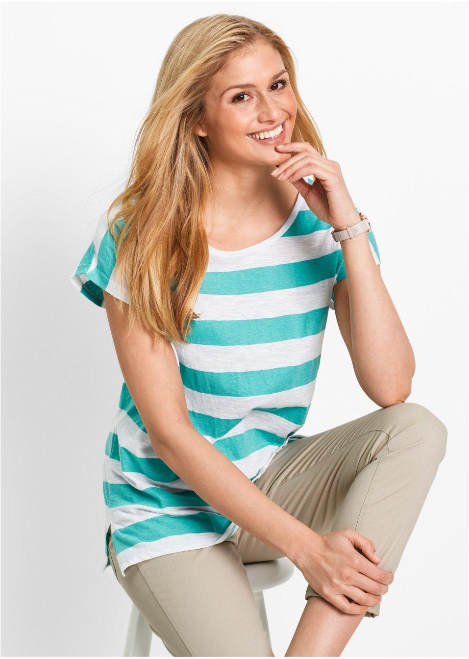 75d473760d185a Bigshirt Pacifisch groen wit gestreept - Dames - bpc bonprix collection -  bonprix.nl