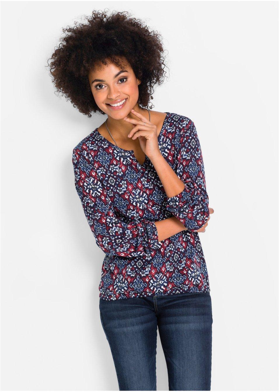 longsleeve donkerblauw bordeaux john baner jeanswear bestel online. Black Bedroom Furniture Sets. Home Design Ideas