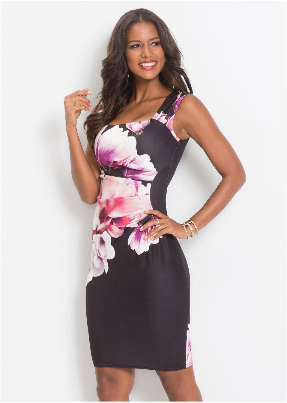 57d1657fd980a2 Jurk zwart paars roze - Dames - BODYFLIRT boutique - bonprix.nl