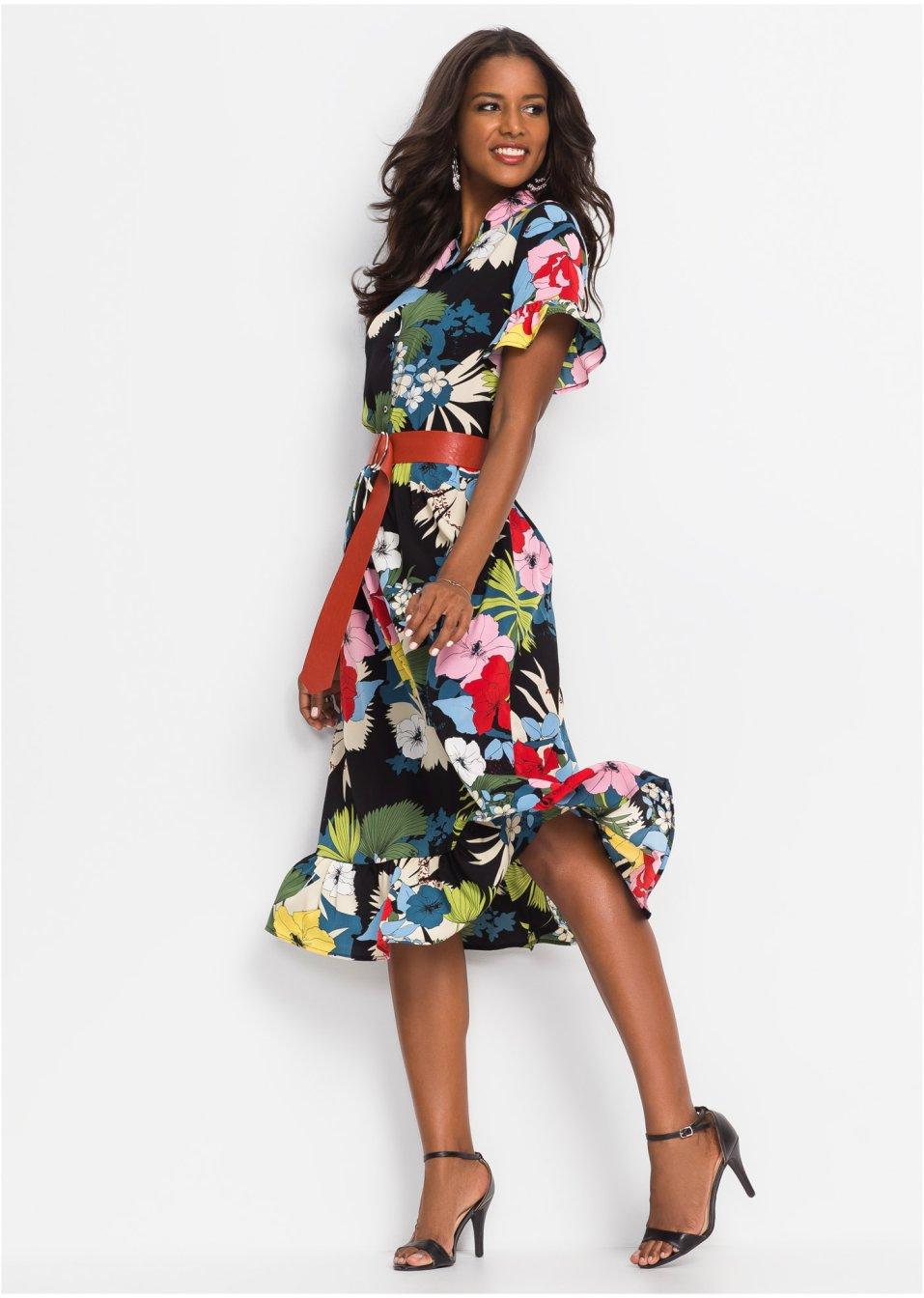 0ecdd27c4b70cc Jurk+riem zwart multicolor gebloemd - Dames - BODYFLIRT boutique -  bonprix.nl