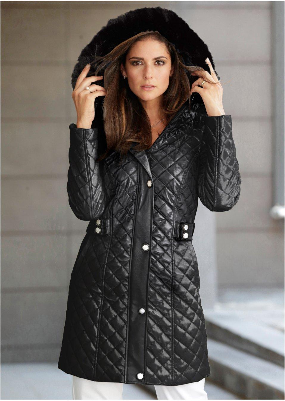 Mooie, korte coat met imitatiebont - zwart