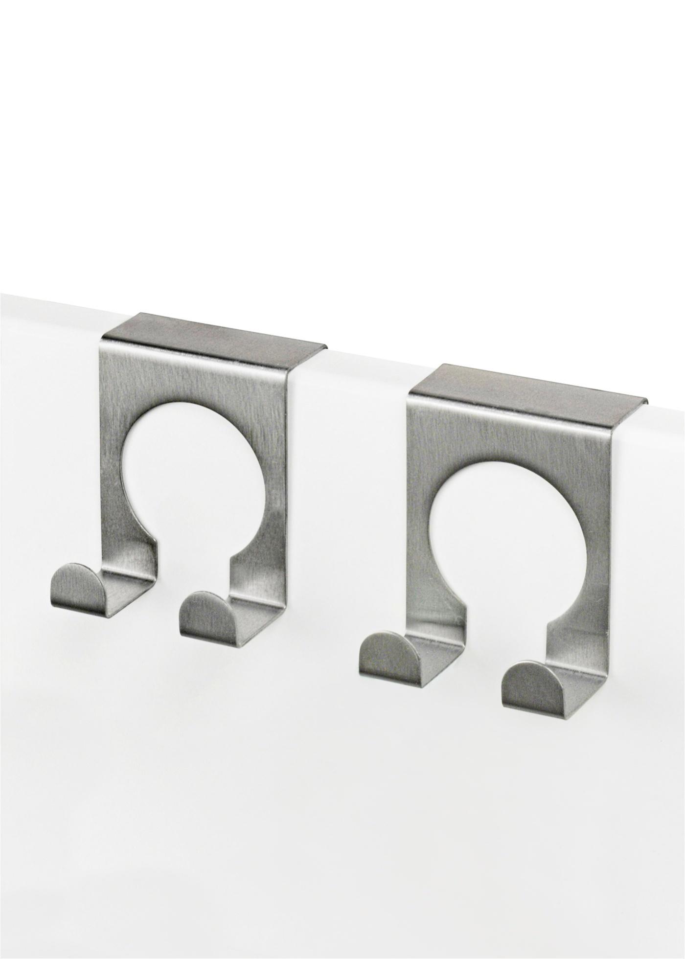 Deze mooi gevormde, dubbele haakjes van rvs kun je meteen gebruiken. gewoon over de vleugel van de deur (max. ...