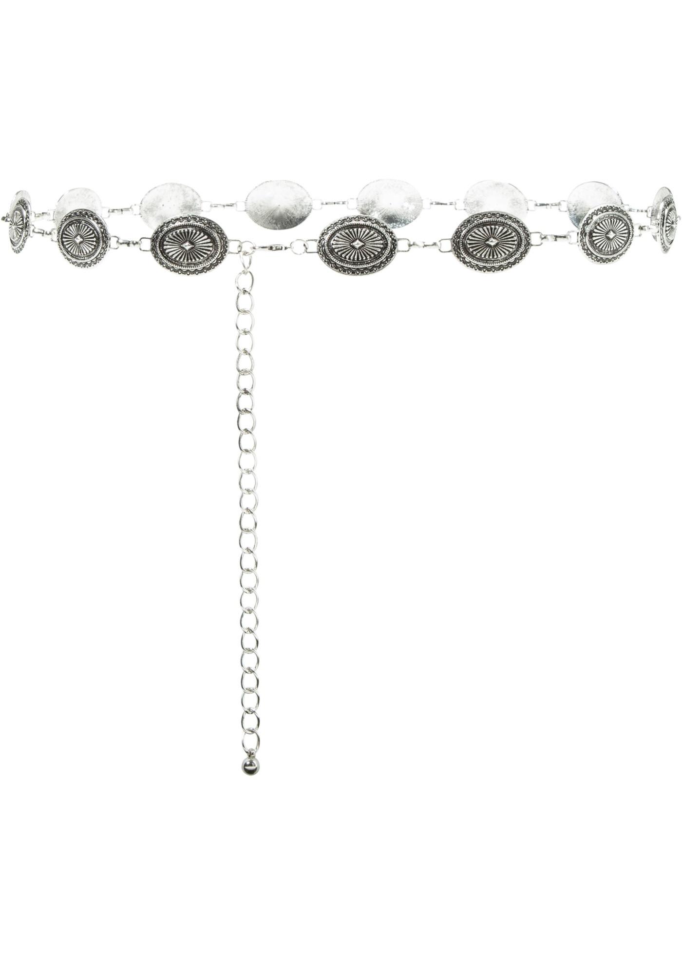 Dit prachtige accessoire geeft je look een modieuze touch. de ronde plaatjes maken deze kettingriem extra ...