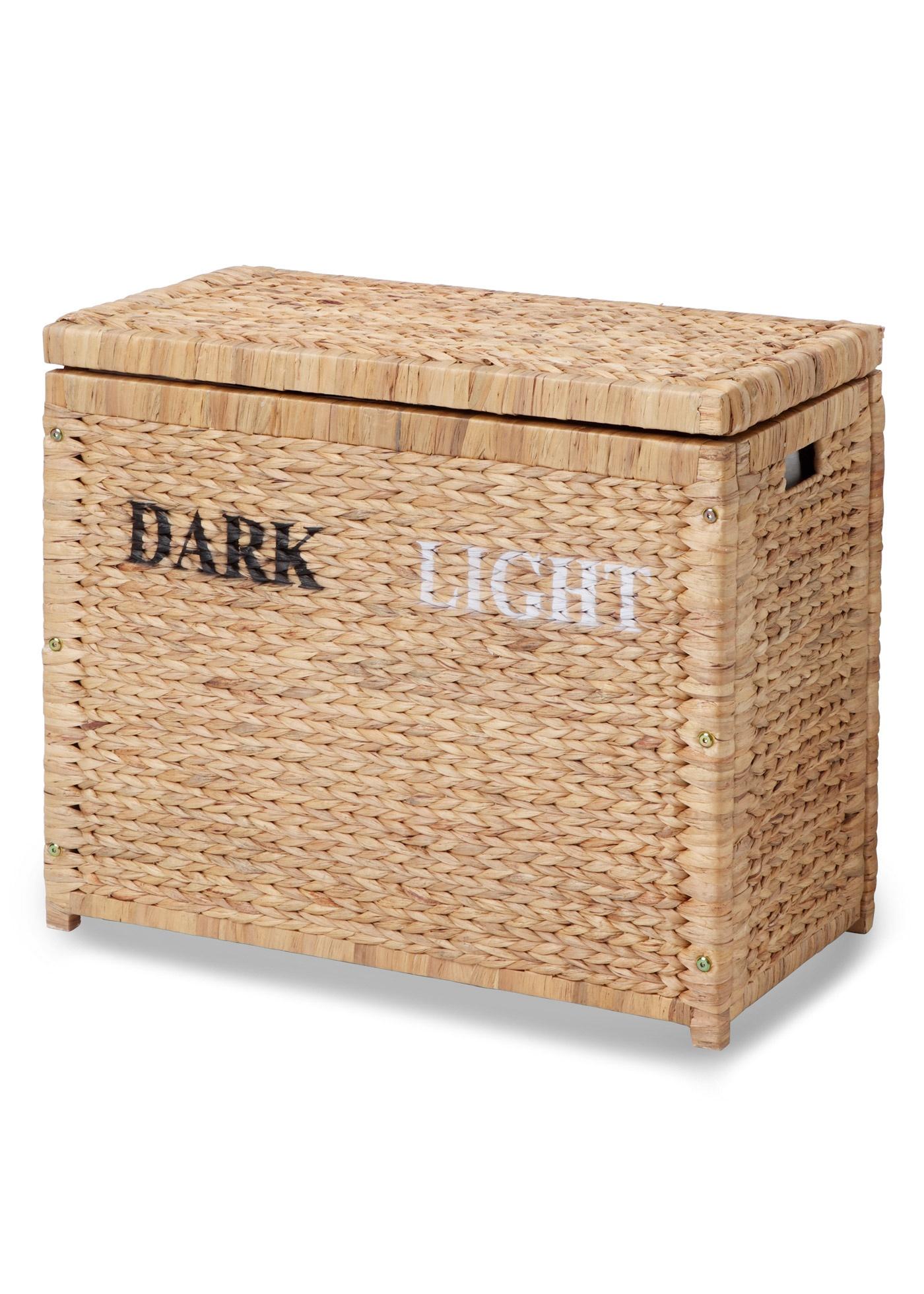 Handige wasmand met onderverdeling voor donker en lichtgekleurd wasgoed. dankzij het opschrift dark en light ...