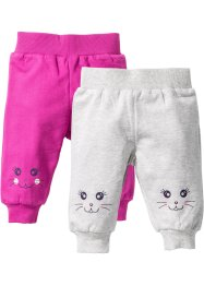 Sweatbroek (set van 2), bpc bonprix collection, ecru gemêleerd+fuchsia