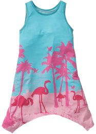 Jurk, bpc bonprix collection, aqua/flamingopink gedessineerd