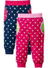Sweatbroek (set van 2), bpc bonprix collection, donkerpink/donkerblauw