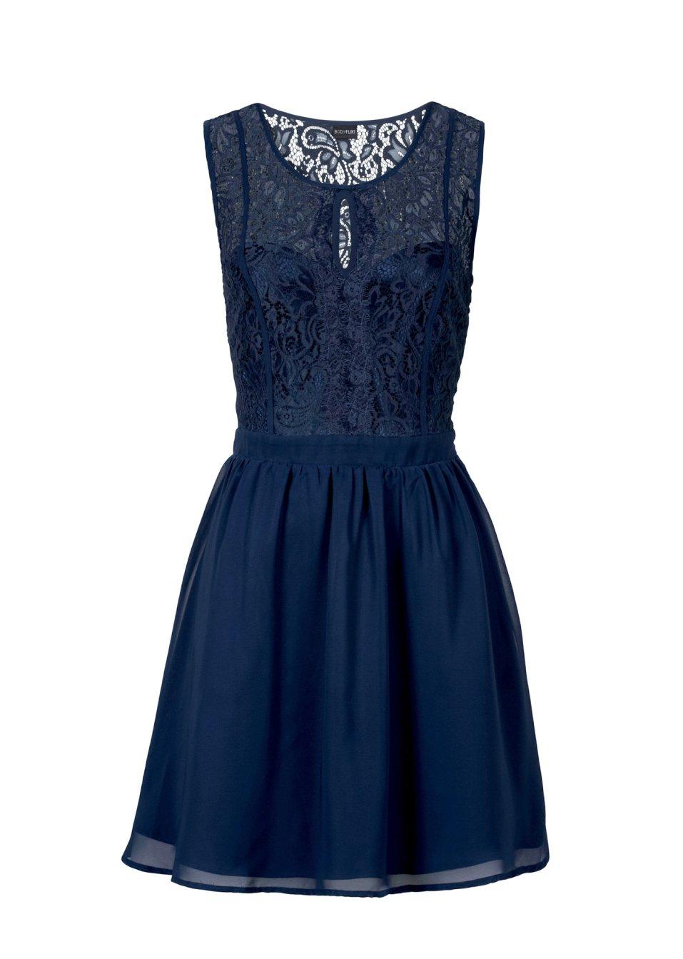 mouwloze jurk met geraffineerde kanten applicaties donkerblauw. Black Bedroom Furniture Sets. Home Design Ideas