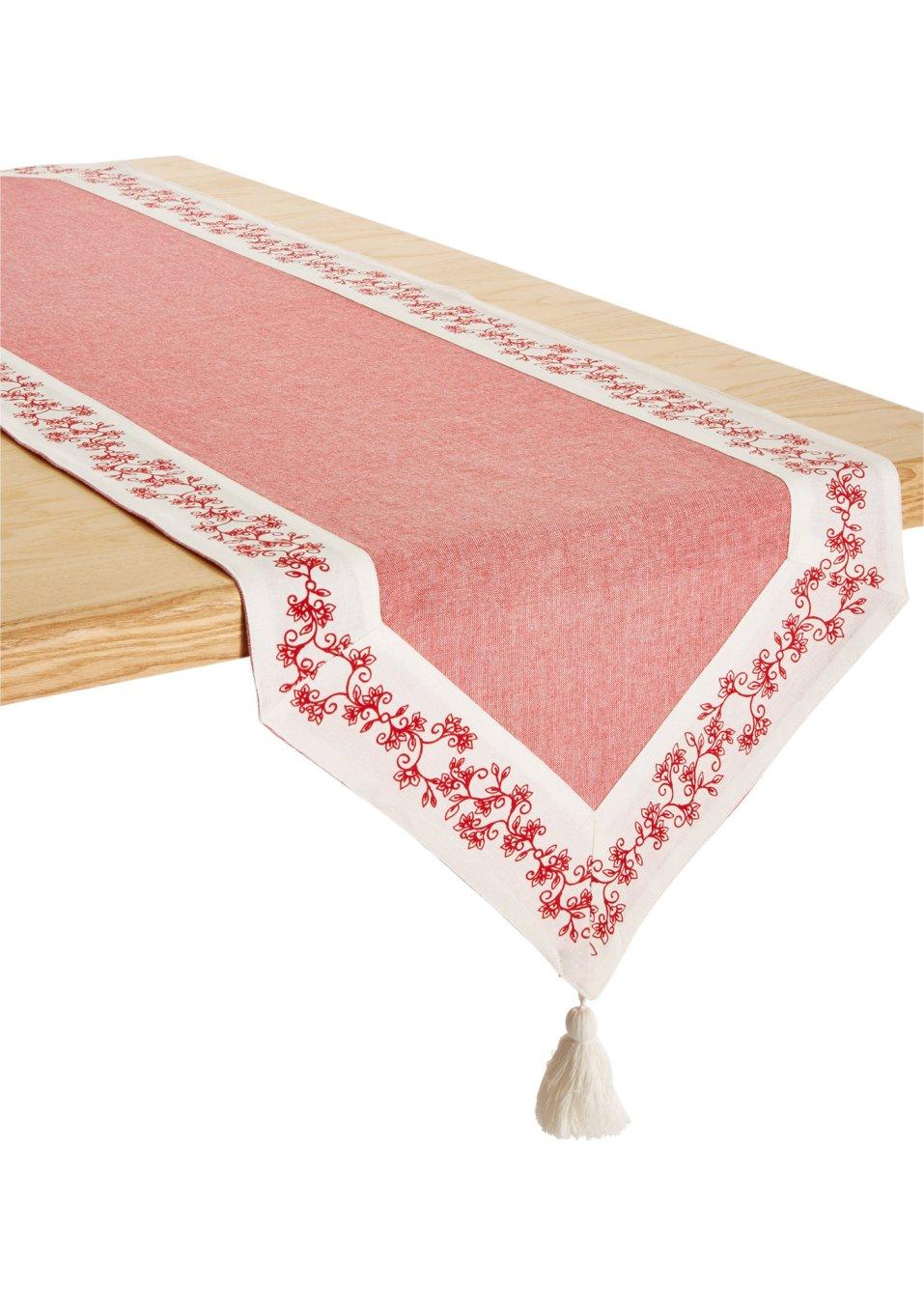 Tafelloper nora rood for Chemin de table eurodif