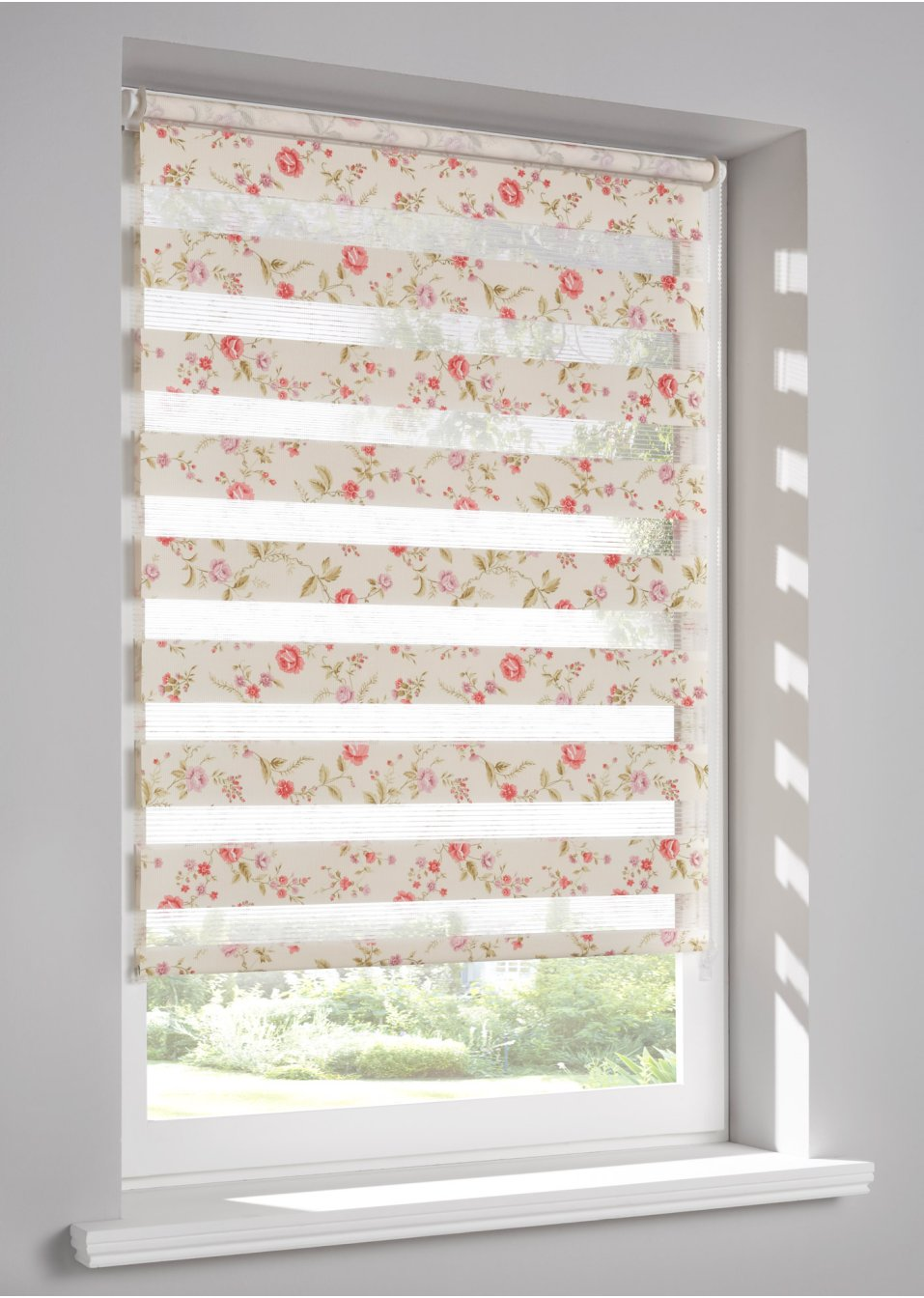 dubbel rolgordijn flowers multicolor bpc living bestel online. Black Bedroom Furniture Sets. Home Design Ideas
