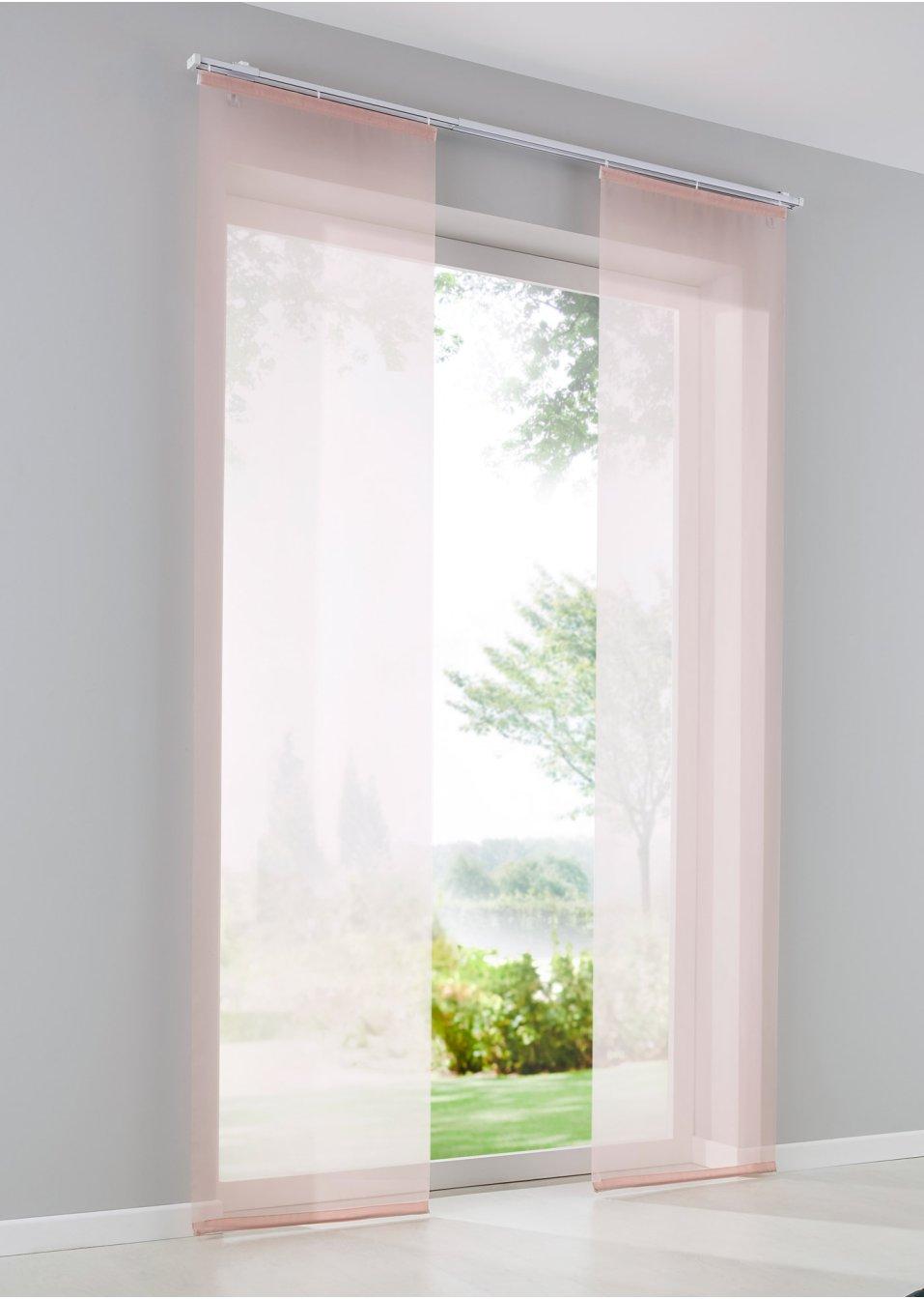paneelgordijn effen voile roze bpc living bestel. Black Bedroom Furniture Sets. Home Design Ideas